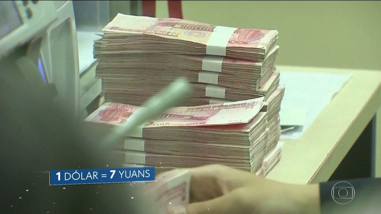 China desvaloriza moeda e derruba mercados em resposta a Trump