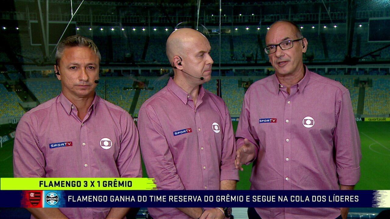 """Comentaristas elogiam a atuação do Flamengo e Lédio analisa Arão como meia: """"Funcionou bem"""""""