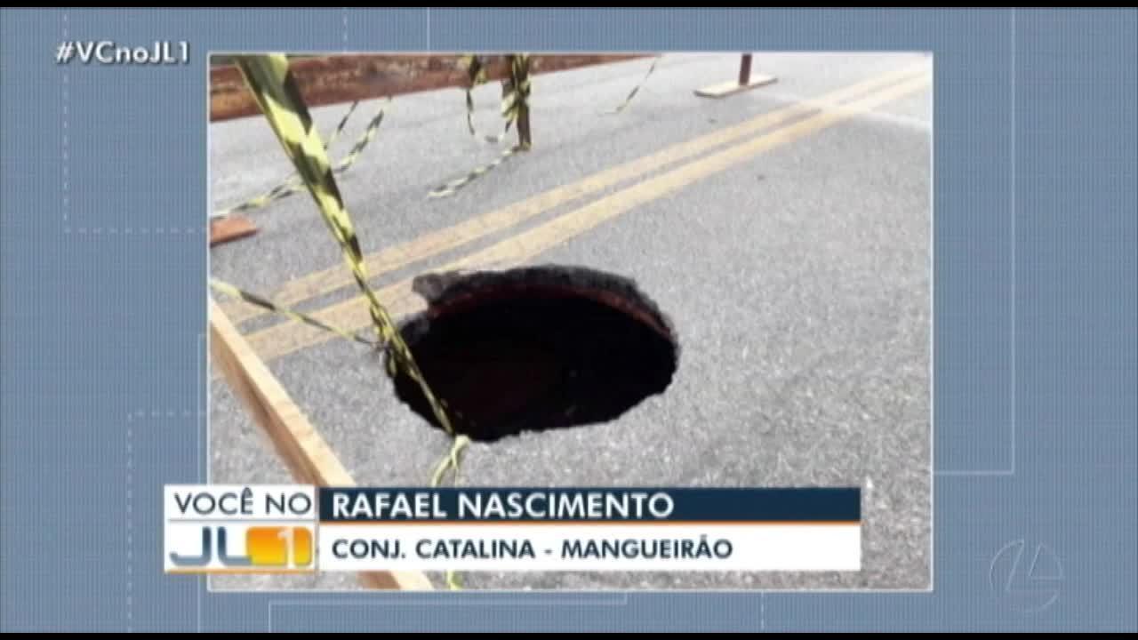 Telespectador registra cratera no conjunto Catalina, no Mangueirão