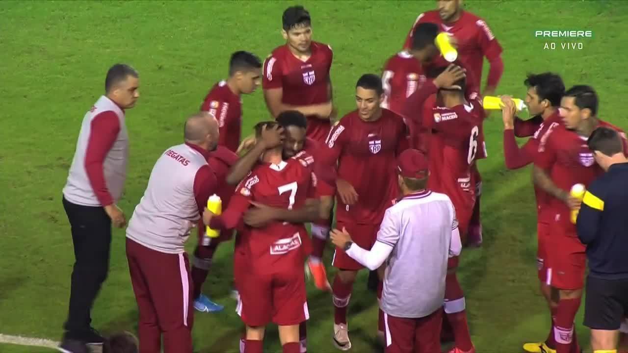 Gol do CRB!!! Aos 41`do 1T, Ferrugem acerta um belo chute e empata para o Galo contra o Figueirense