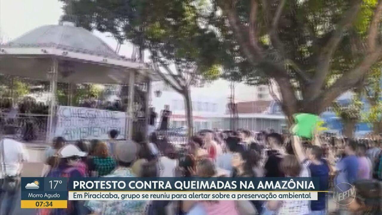 Manifestantes se reúnem para alertar sobre a preservação ambiental em Piracicaba
