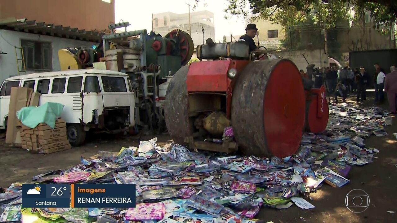Duzentas toneladas de brinquedos piratas são destruídos