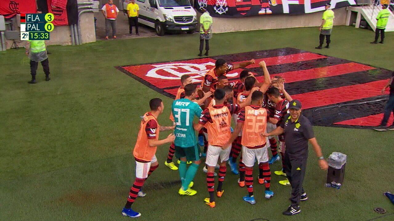 Os gols de Flamengo 3 x 0 Palmeiras pela 17ªrodada do Campeonato Brasileiro