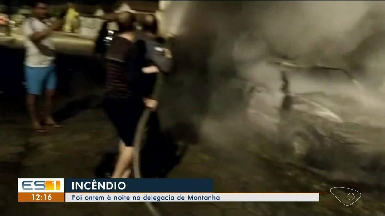 Carros são incendiados em pátio de delegacia em Montanha, ES