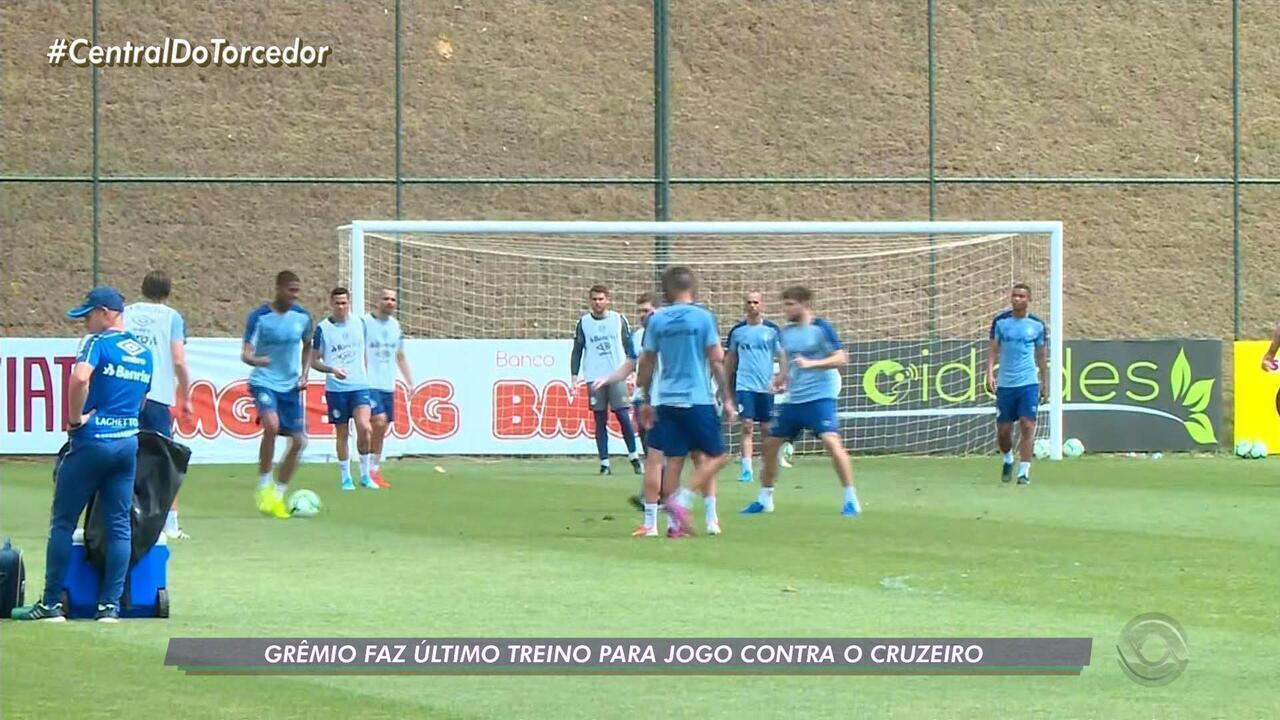 Grêmio tem último treino antes de enfrentar o Cruzeiro pelo Brasileiro