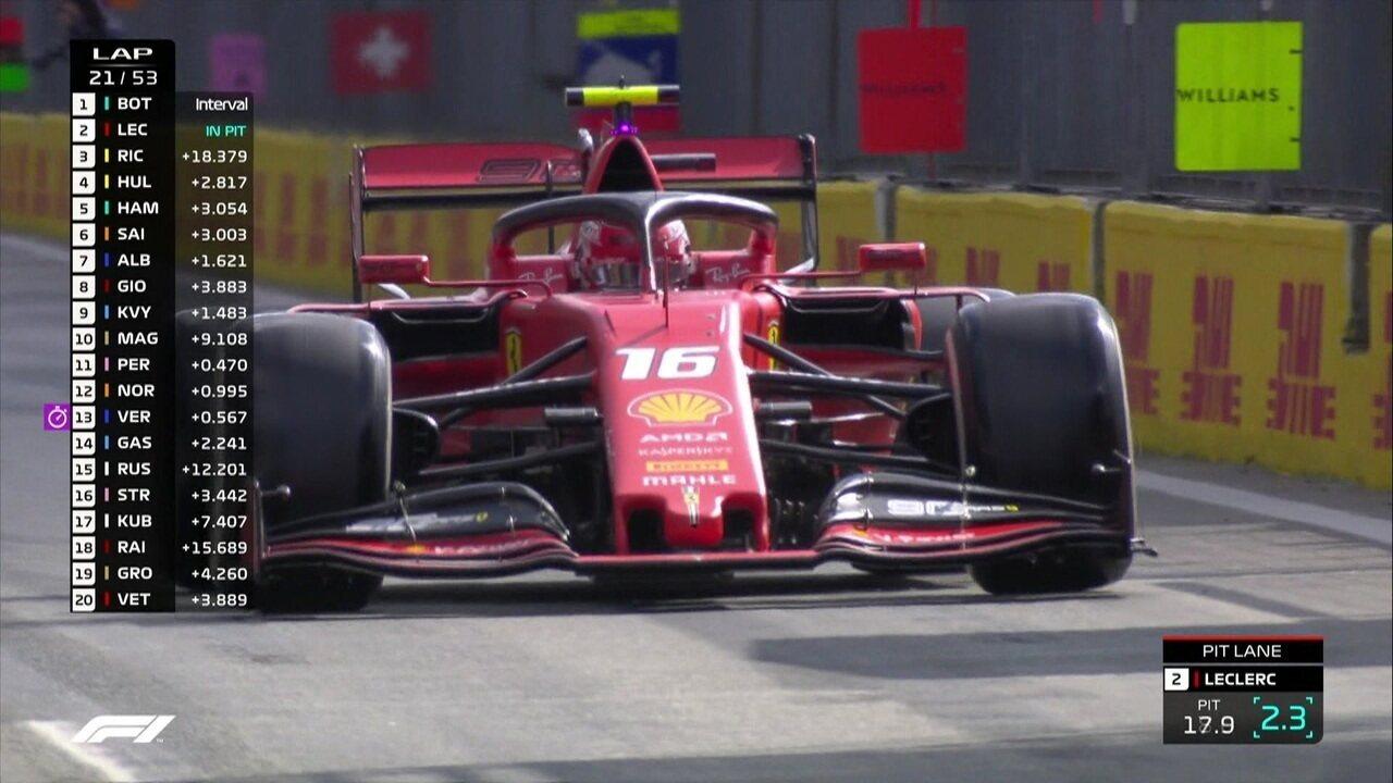 Leclerc vai para o pit stop e volta em quarto lugar