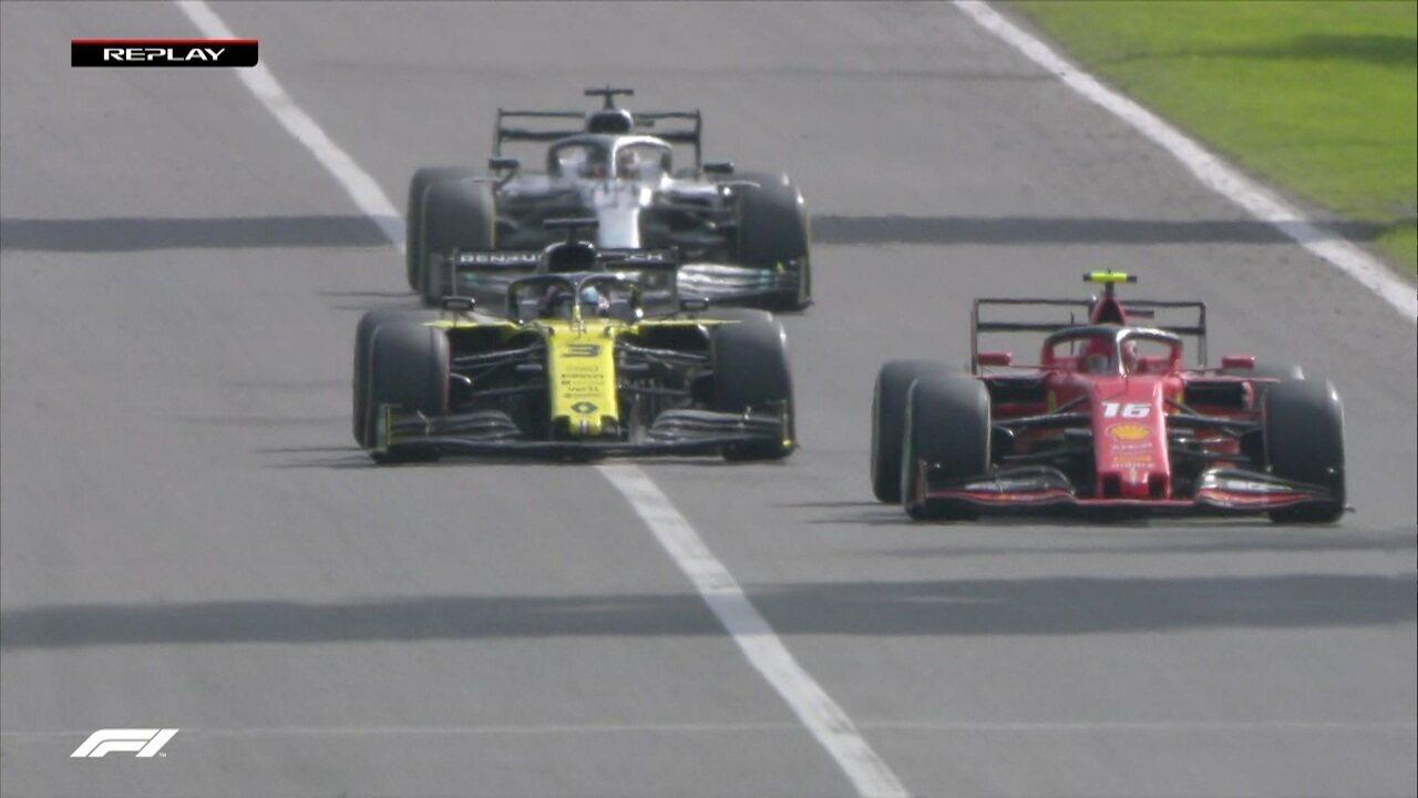 Leclerc e Hamilton passam por Ricciardo