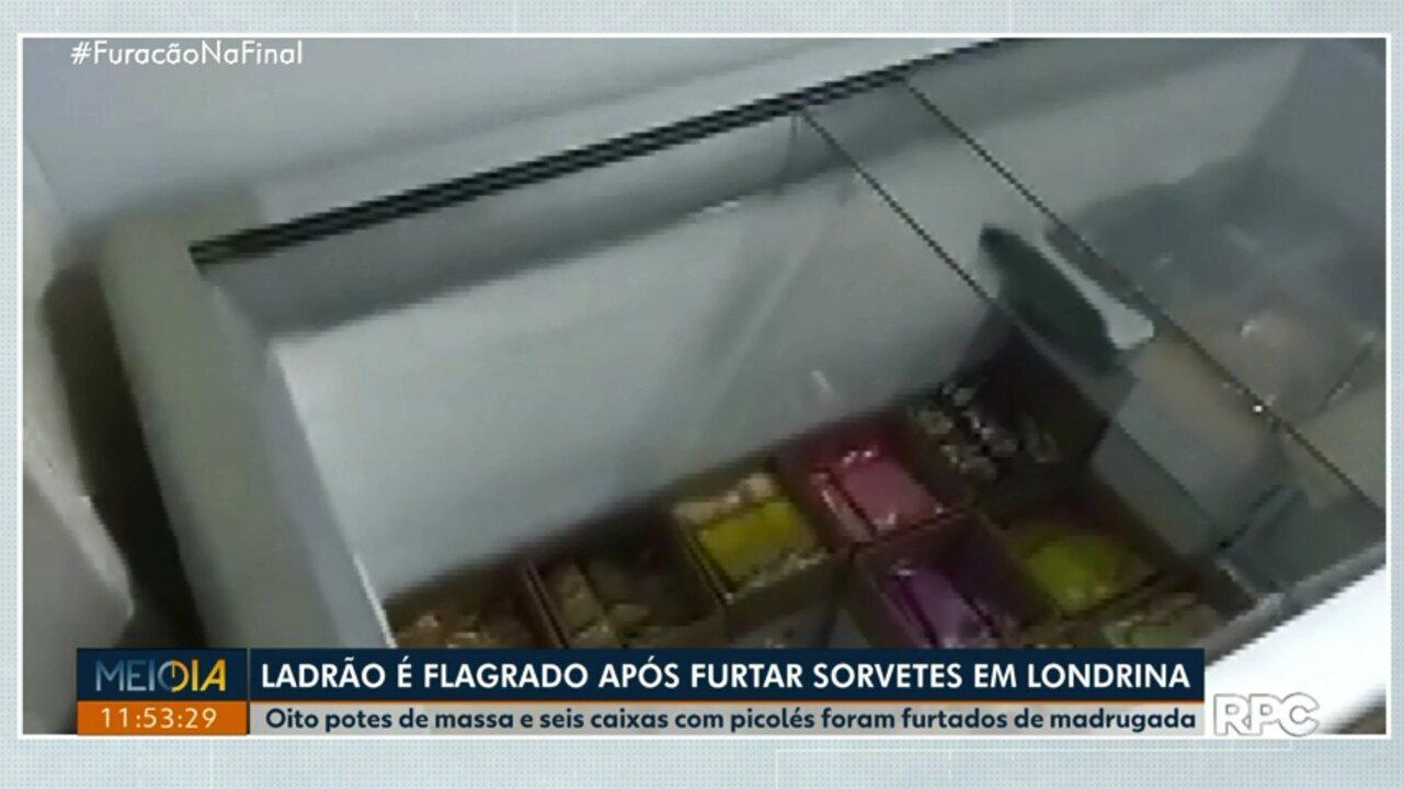 Ladrão é flagrado após furtar sorvetes em Londrina