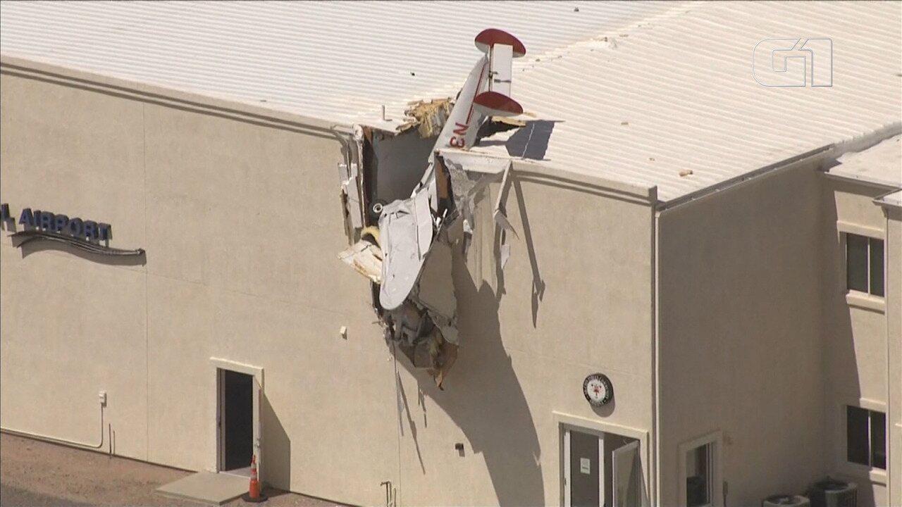 Monomotor bate contra prédio nos EUA; instrutor e aluno são levados a hospital