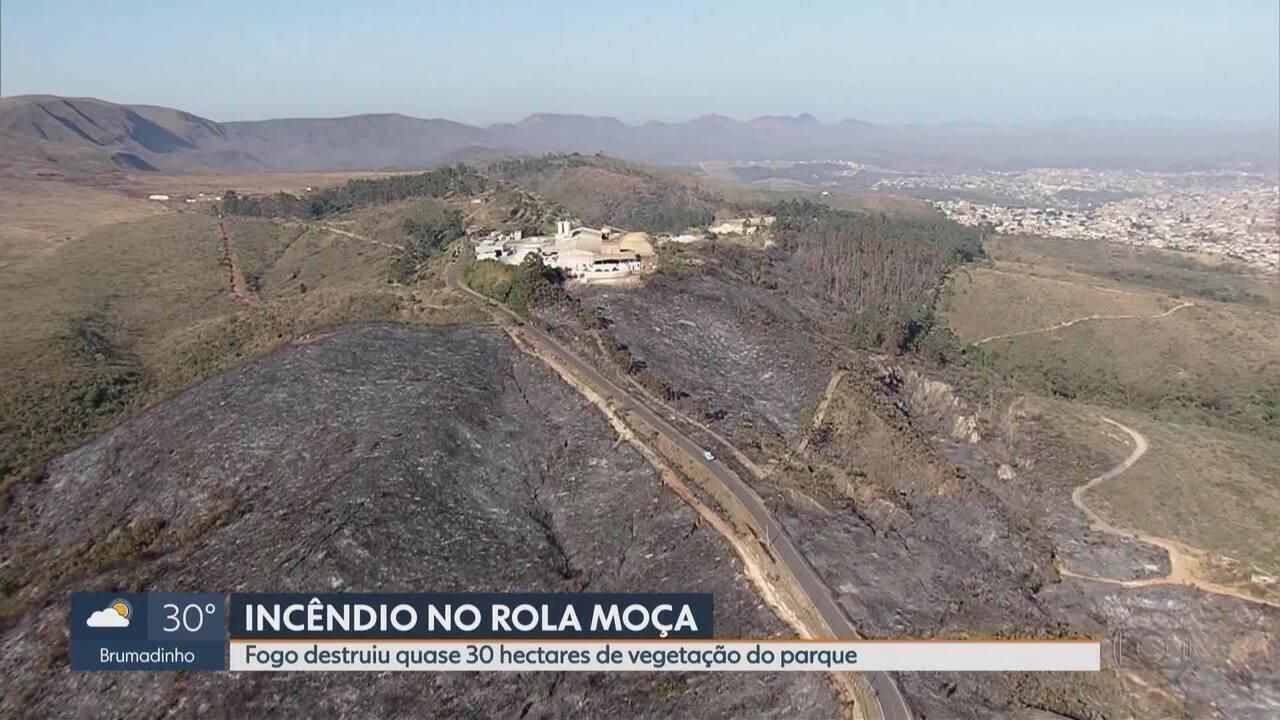 Fogo destrói quase 30 hectares do Parque da Serra do Rola Moça, em Belo Horizonte
