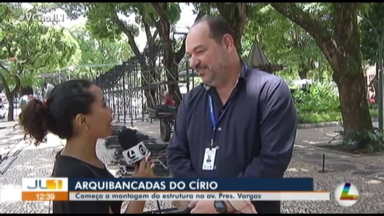 Arquibancadas da avenida Presidente Vargas começam a ser montadas para o Círio