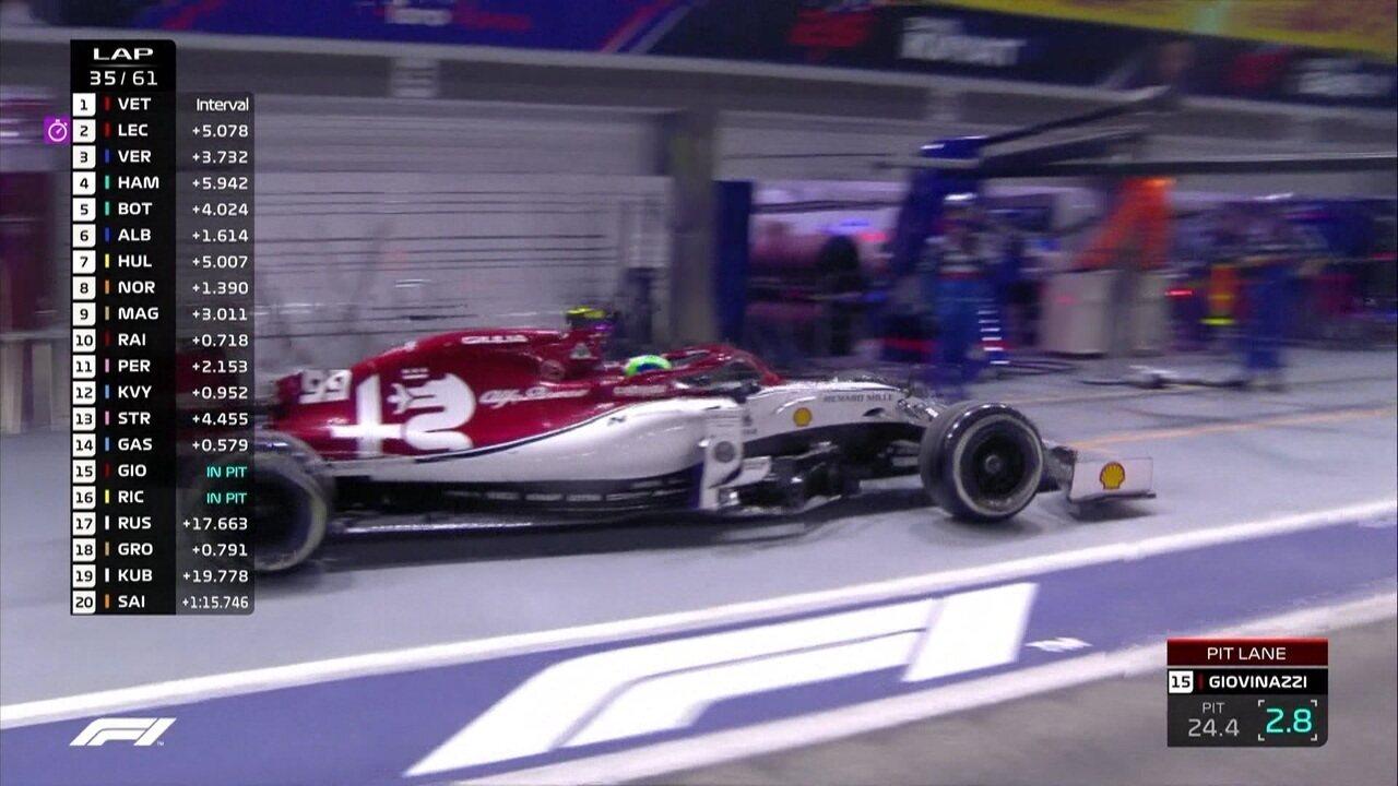 Giovinazzi e Ricciardo vão para os boxes após batida