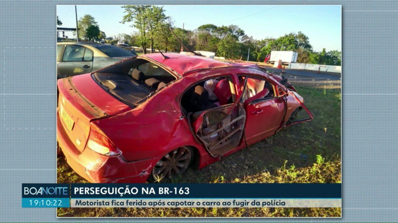 Motorista bate carro depois de fugir por quatro quilômetros da PRF, na BR-163