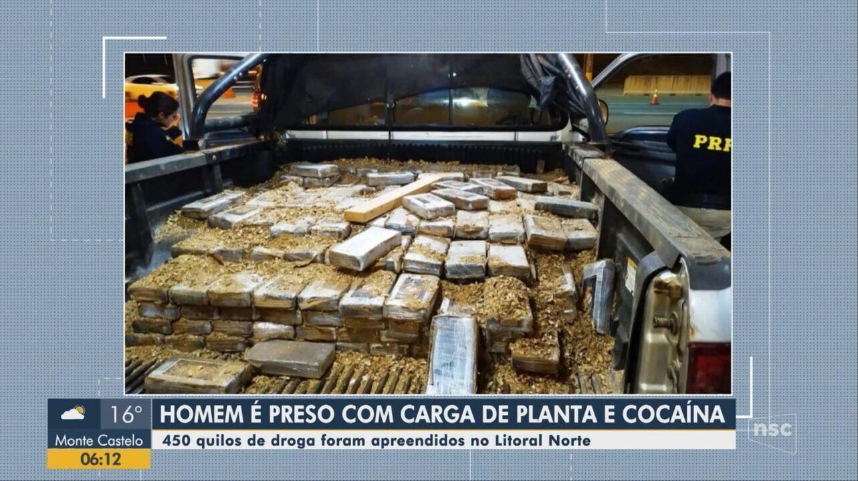 Motorista é preso com cocaína em meio a carga de mudas de plantas em SC