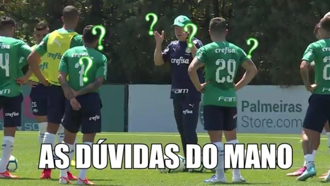 As dúvidas de Mano Menezes na escalação do Palmeiras, a situação de Luiz Adriano e os detalhes do treino ataque x defesa