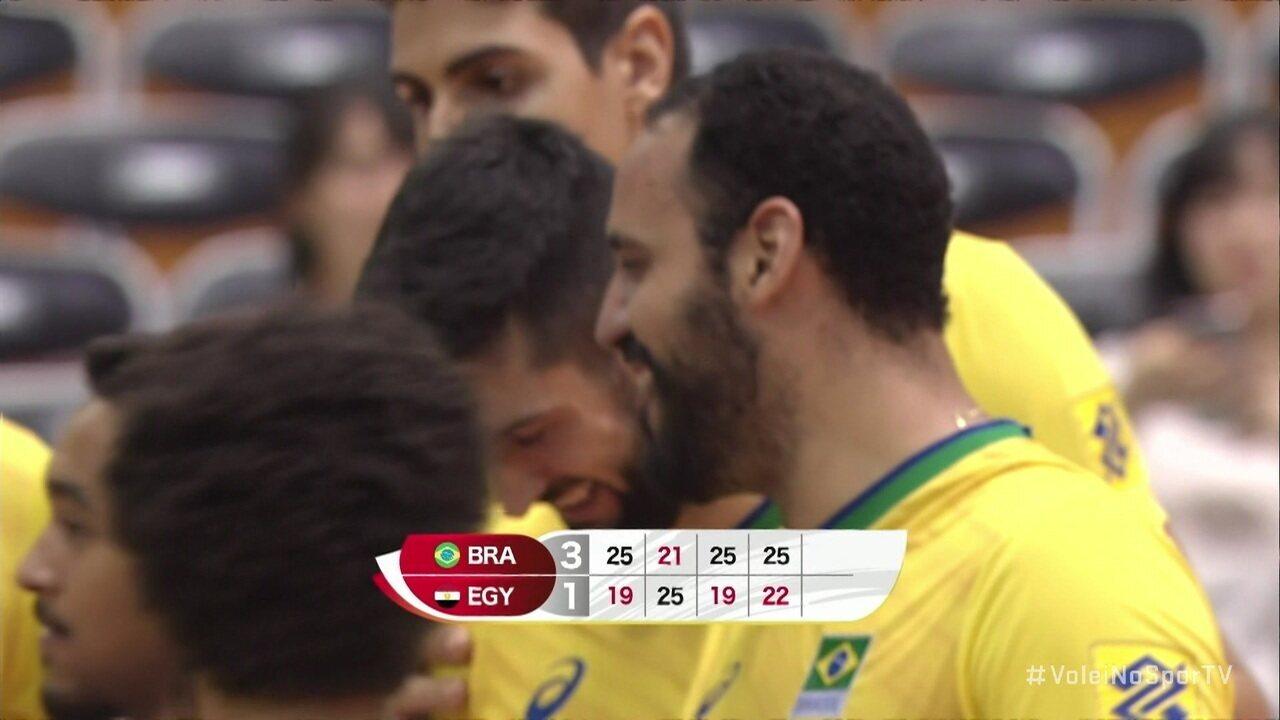 Melhores momentos: Brasil 3 x 1 Egito pela Copa do Mundo de vôlei masculino