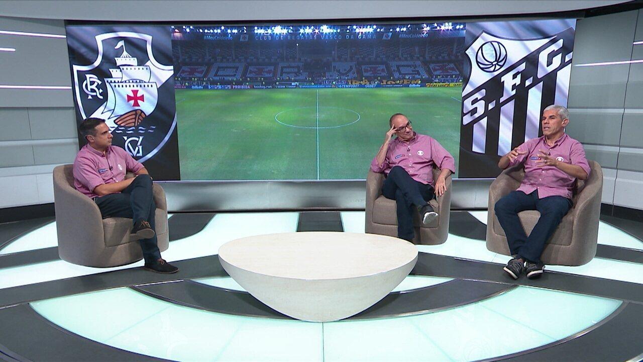Gustavo Vilani, Lédio Carmona e Ricardinho analisam a vitória do Santos sobre o Vasco em São Januário