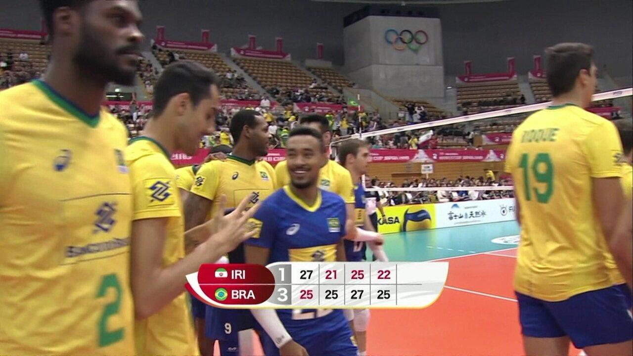 Melhores momentos: Brasil 3 x 1 Irã pela Copa do Mundo de Vôlei