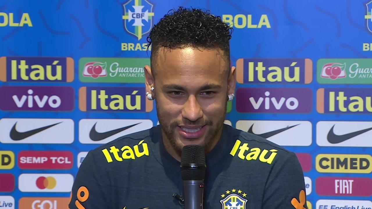 Em coletiva Neymar diz que um dos momentos mais marcante na Seleção foi o gol na primeira Copa do Mundo