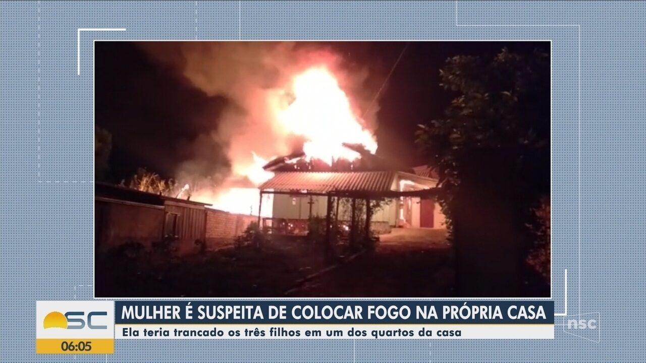 Crianças conseguem fugir pela janela de casa que pegava fogo em Santa Catarina