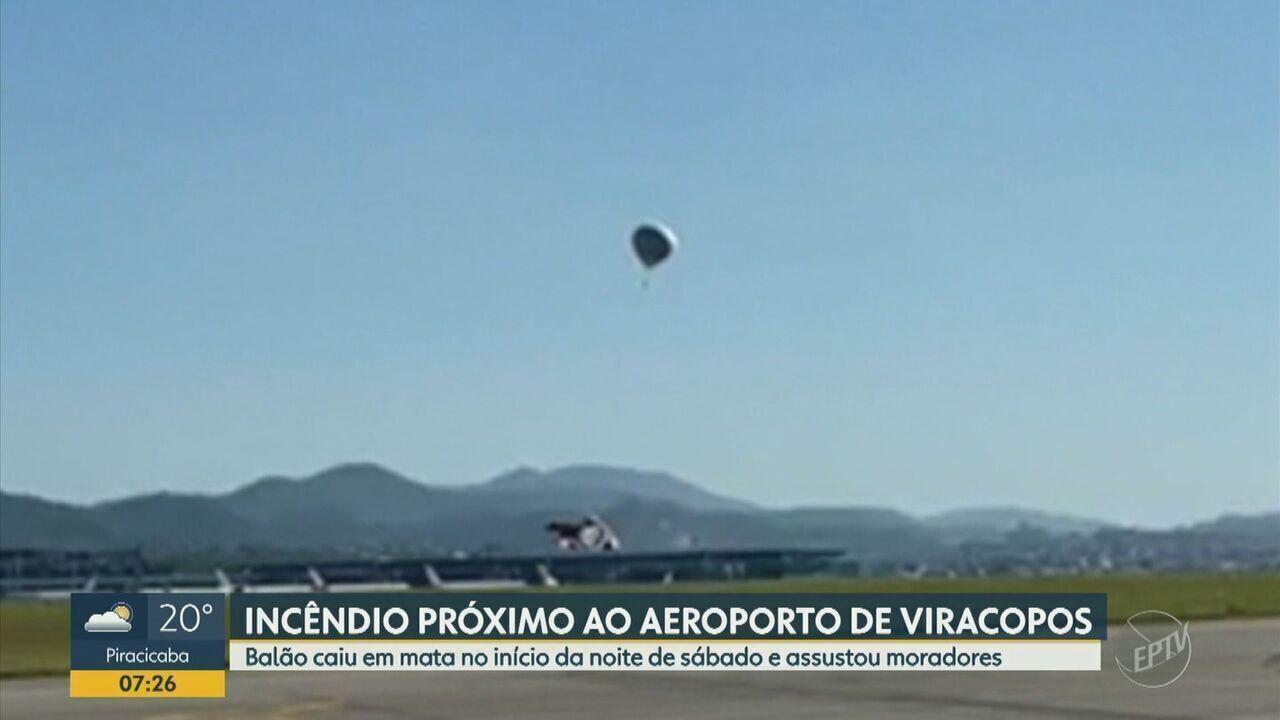 Queda de balão gera incêndio próximo ao Aeroporto de Viracopos