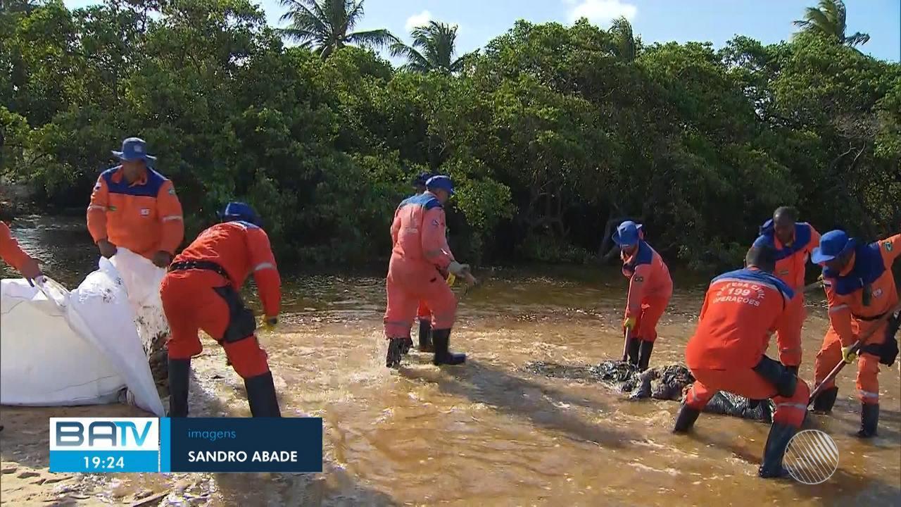 Mais de 50t de petróleo já foram retiradas de praias em oito municípios baianos