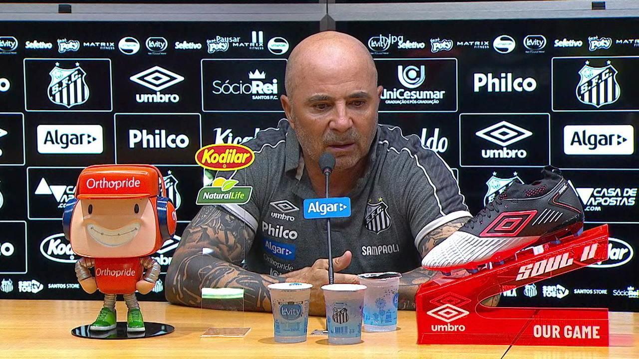 Veja a entrevista coletiva de Jorge Sampaoli após a vitória do Santos contra o Ceará