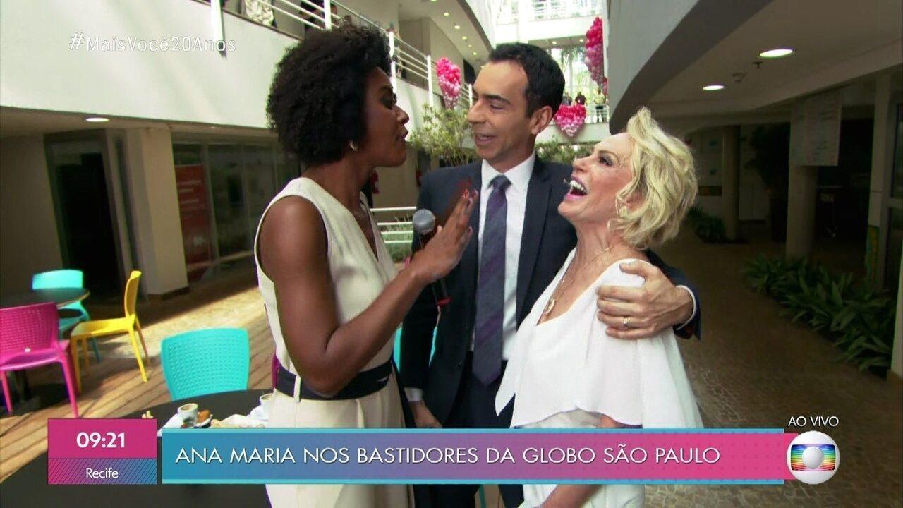 Ana Maria encontra César Tralli e Maju Coutinho