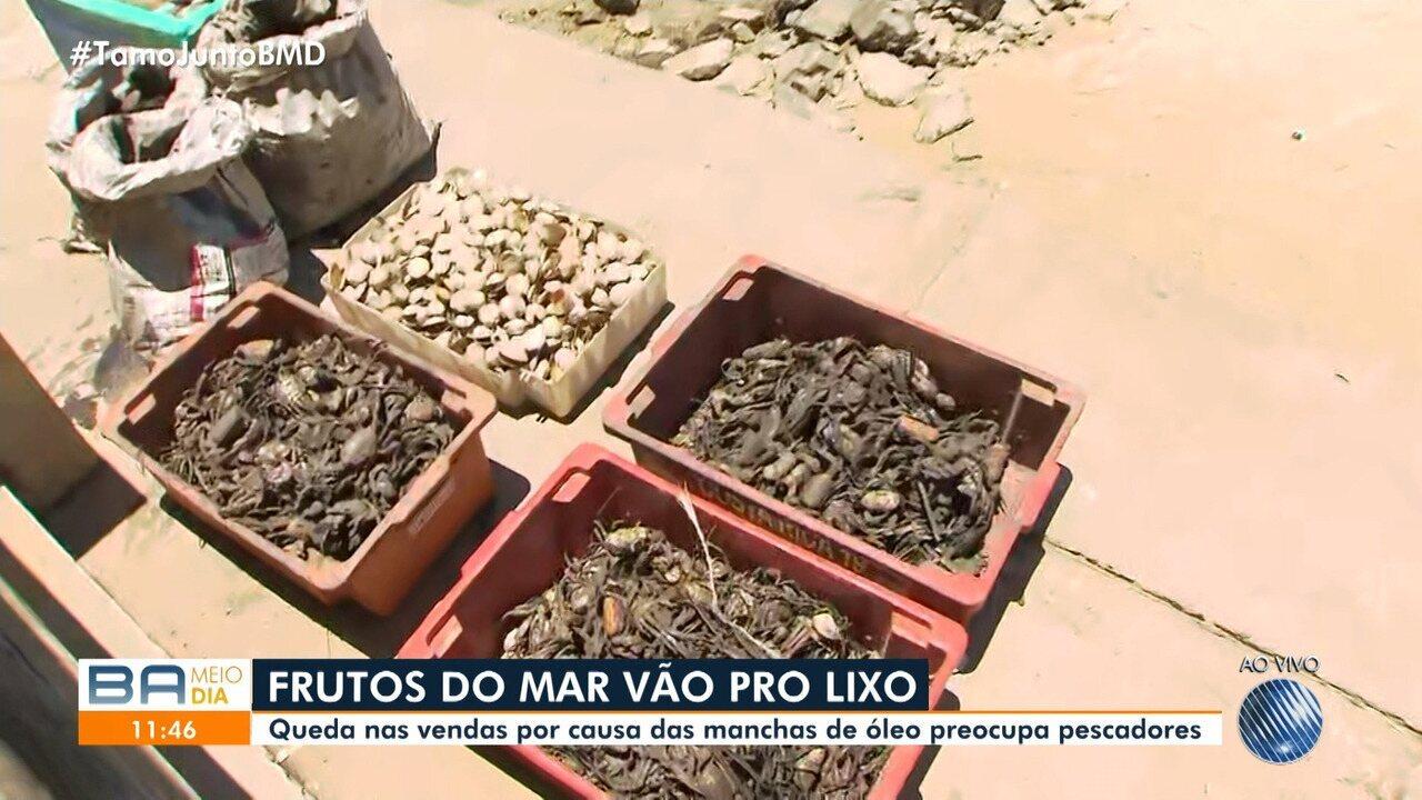 Óleo: mariscos são jogados no lixo e situação deixa marisqueiros e pescadores no prejuízo