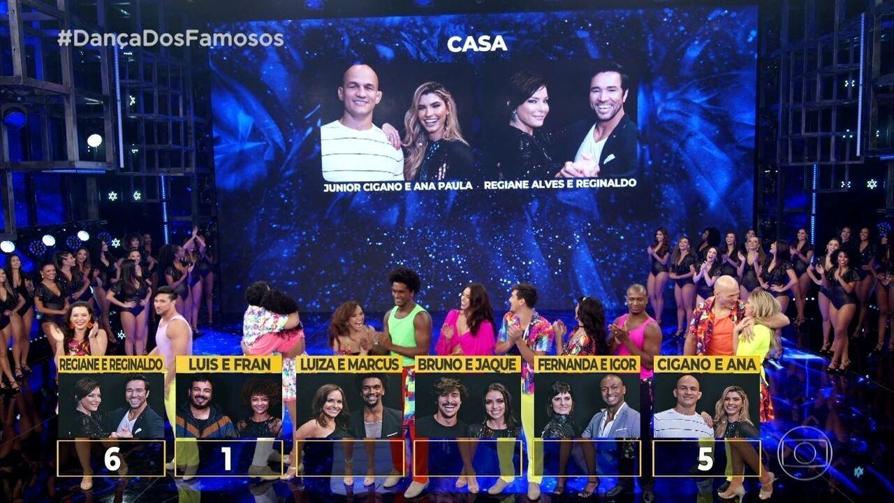 Regiane Alves e Júnior Cigano ganham a repescagem no 'Dança dos Famosos'