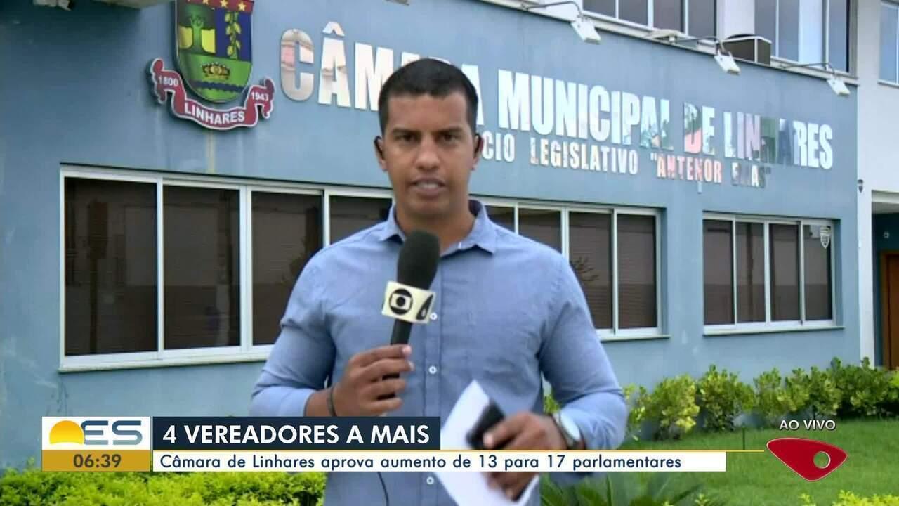 Câmara de Linhares, ES, aprova aumento de 13 para 17 parlamentares
