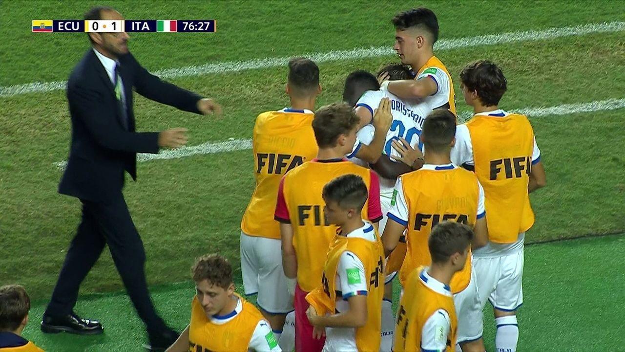 O gol de Equador 0 x 1 Itália pelas oitavas de final do Mundial sub-17