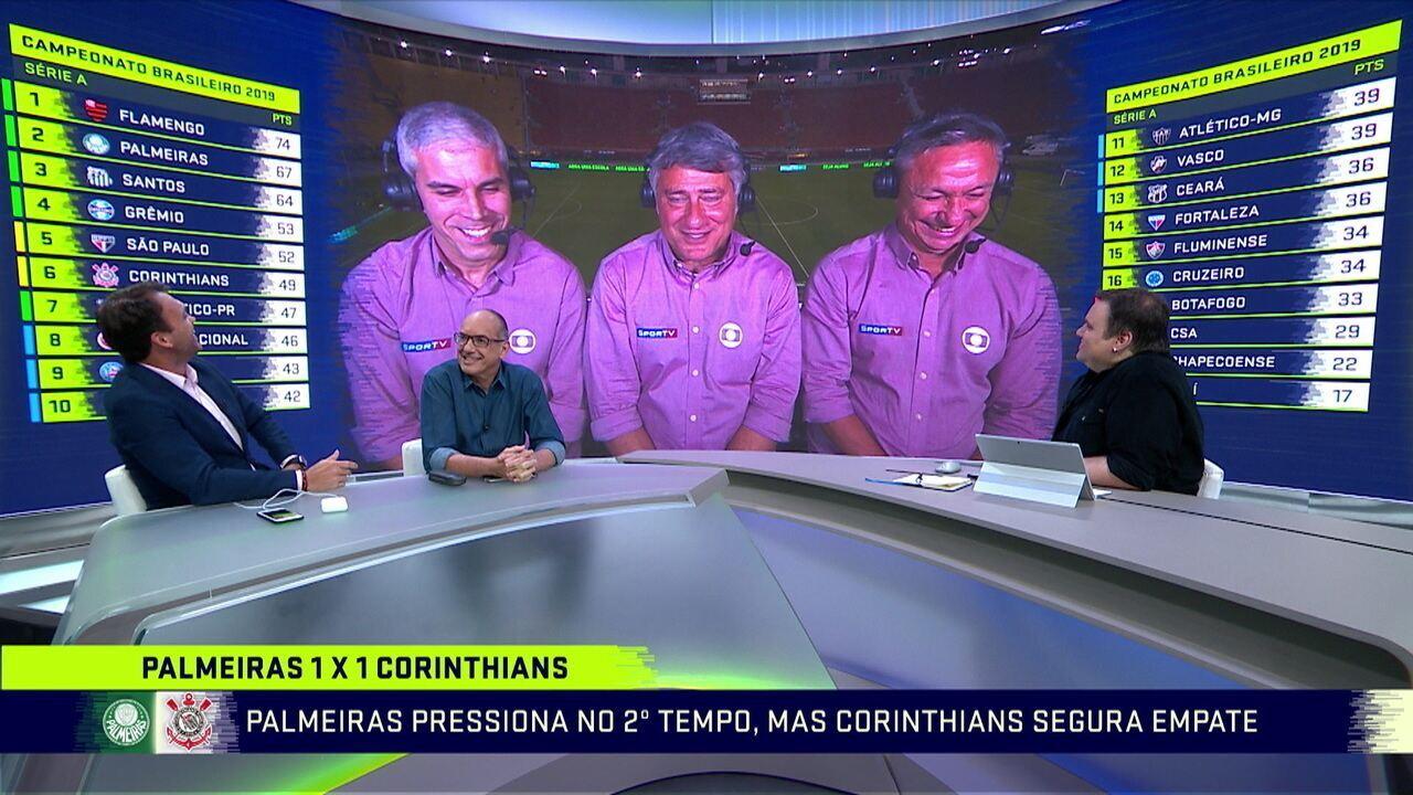 Comentaristas explicam empate agitado entre Palmeiras e Corinthians no Pacaembu