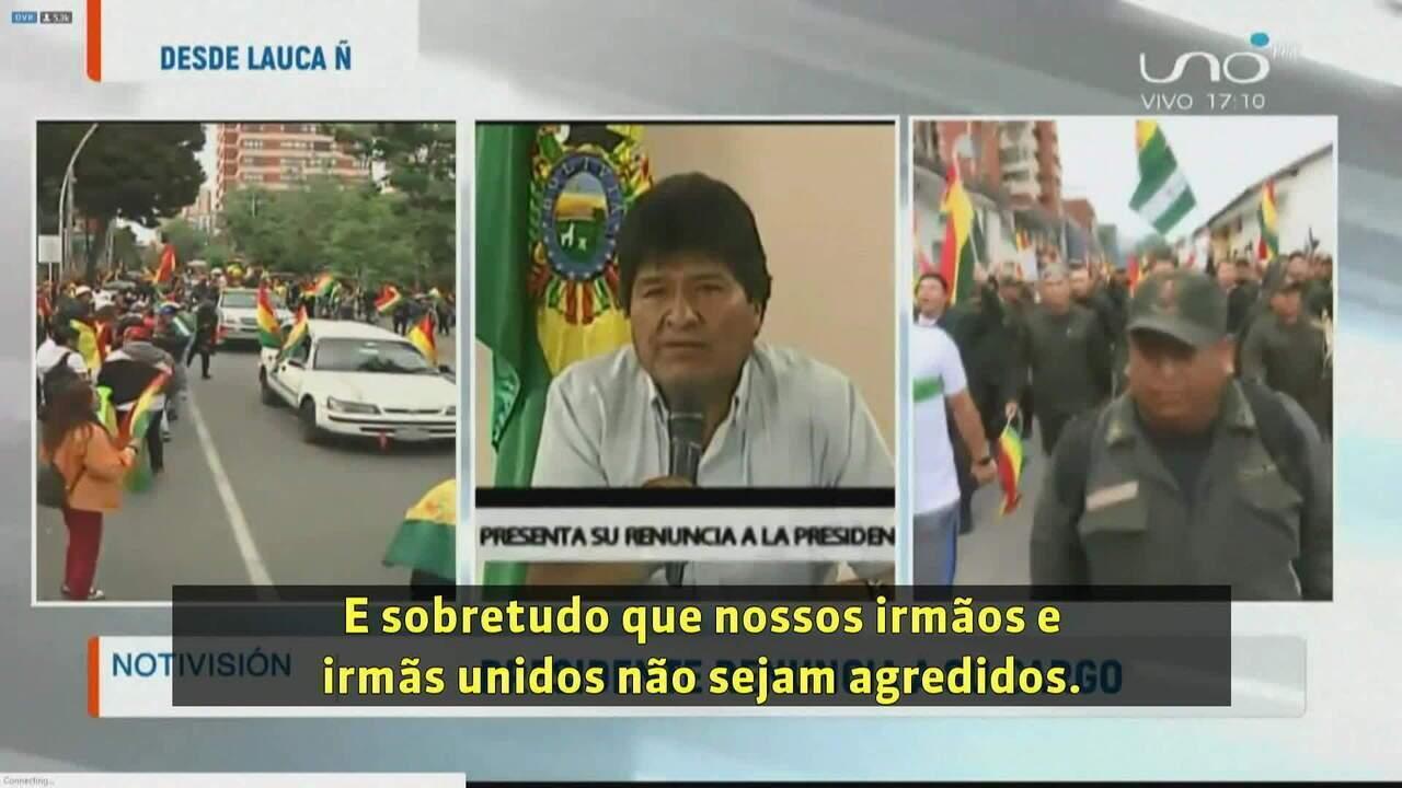 Veja o momento em que Evo Morales renuncia a presidência da Bolívia
