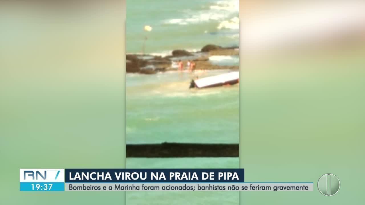 Lancha vira e cinco pessoas ficam feridas na praia da Pipa, no RN