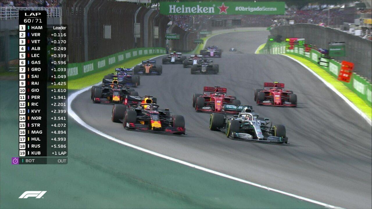 Confira a relargada após safety car e Verstappen tomando a ponta em Interlagos