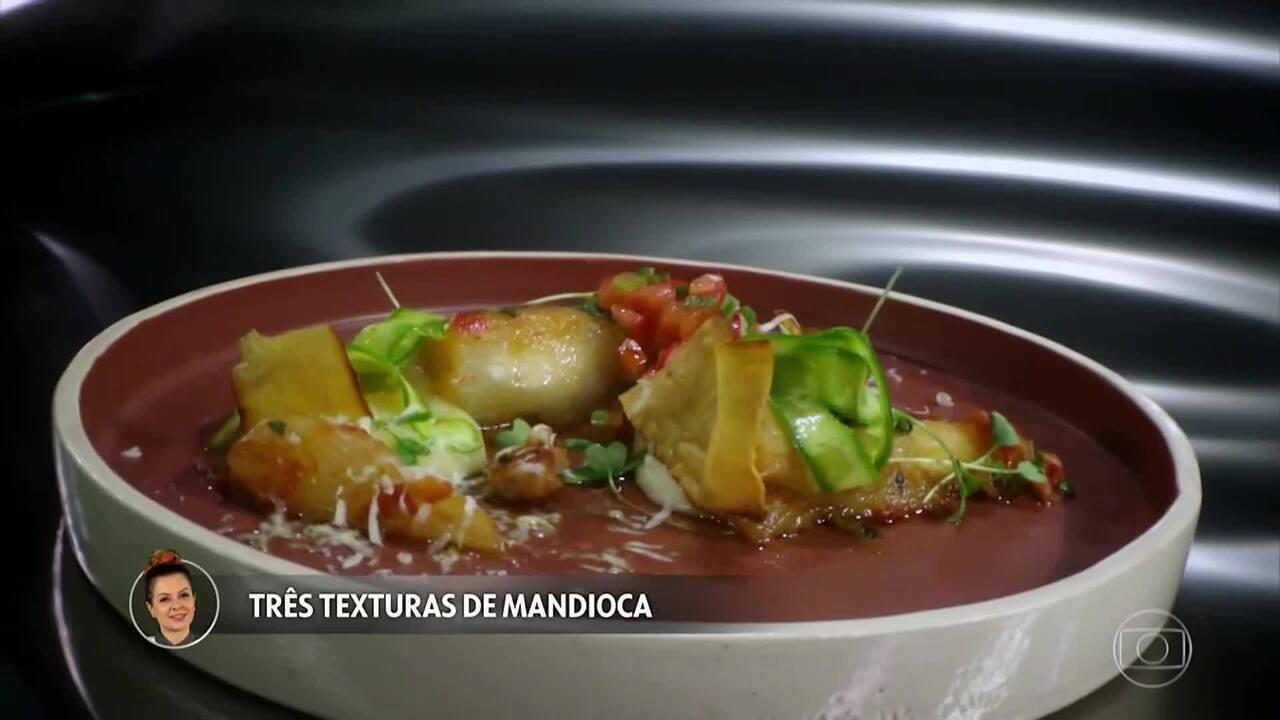 Três Texturas de Mandioca e Picles de Tomate com Aipo da Amanda Grezzana