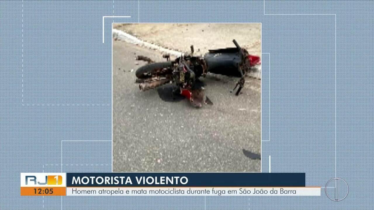 Homem atropela e mata motociclista durante fuga em São João da Barra