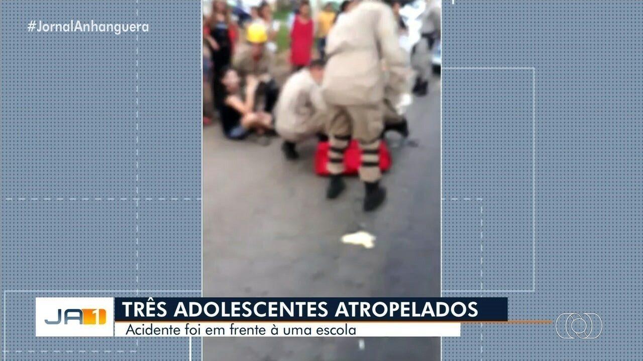 Adolescentes atropelado em acidente em frente a escola continua internado em Goiânia