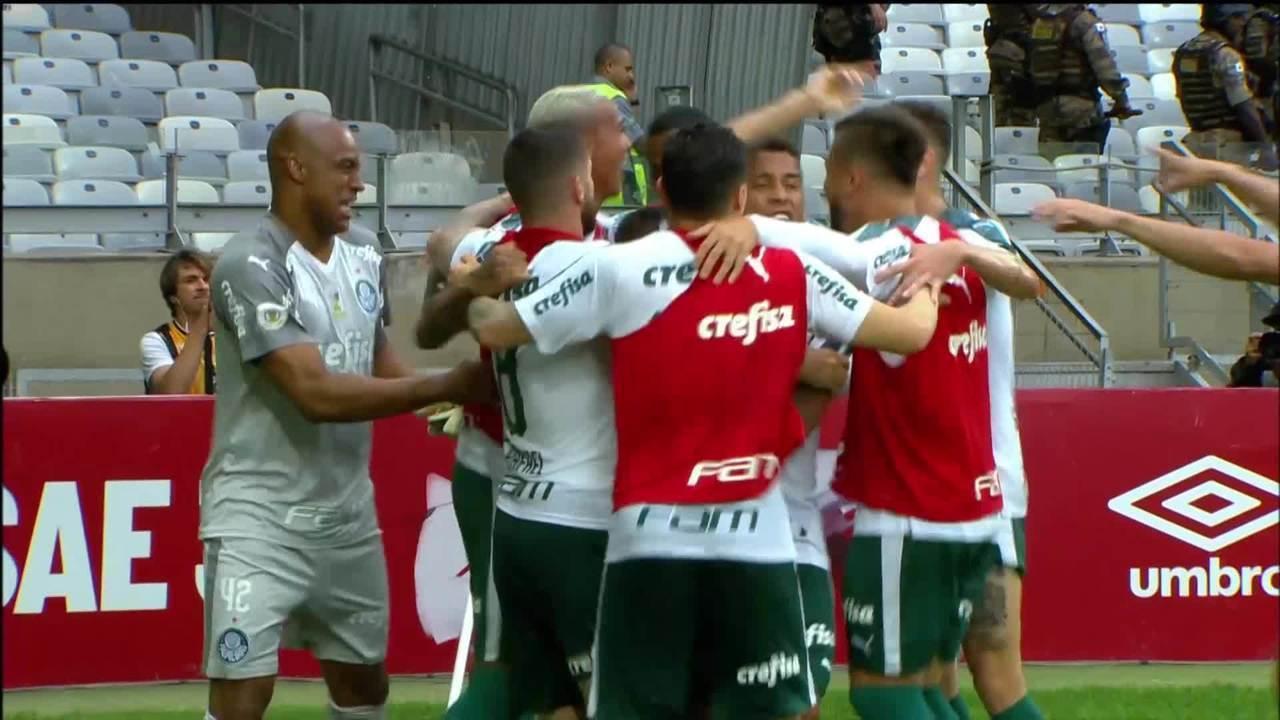 Gol do Palmeiras! Bruno Henrique cruza e Dudu cabeceia para ampliar, aos 37' do 2ºT
