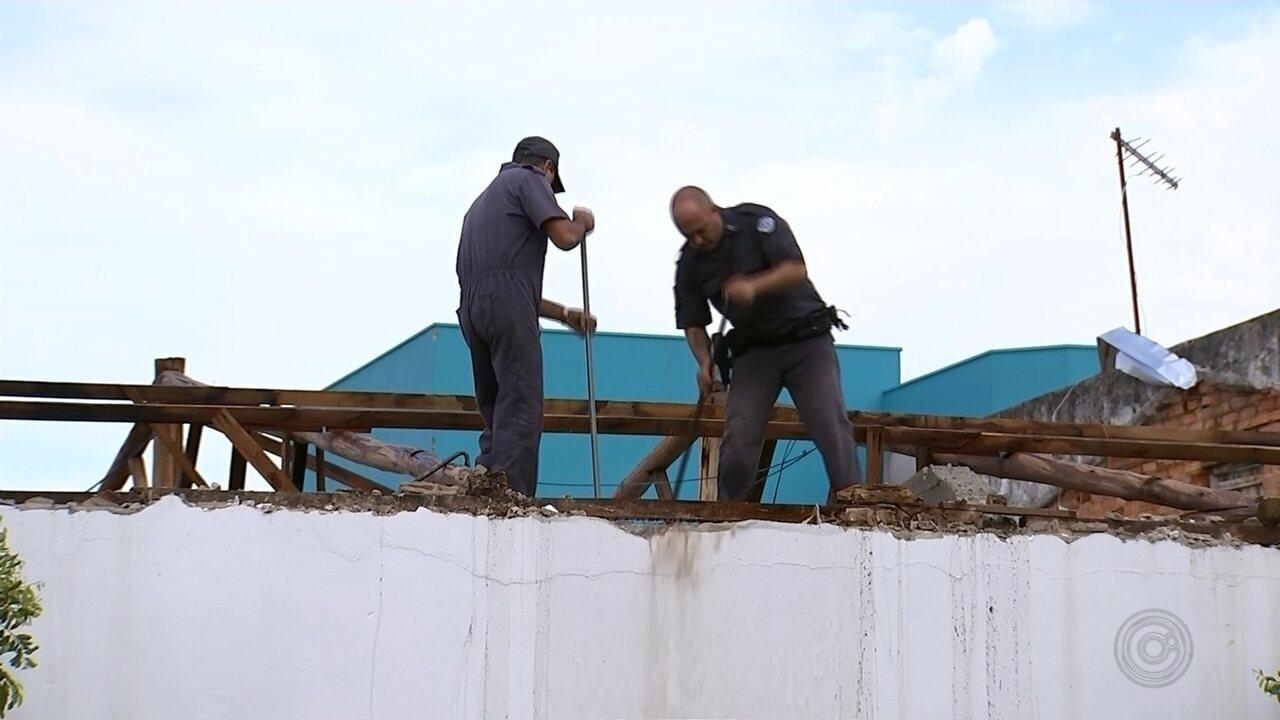 PM atende em prédio provisório após base de Boituva ficar destelhada em temporal
