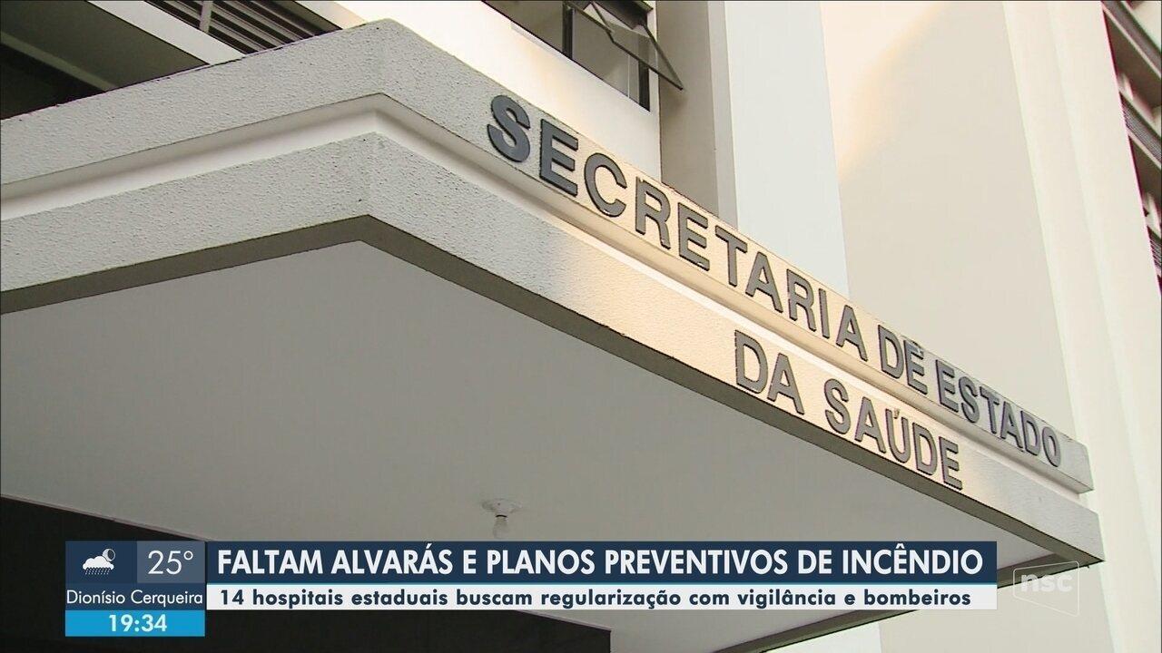 Hospitais estaduais de SC atuam sem alvará sanitário e plano preventivo de incêndio