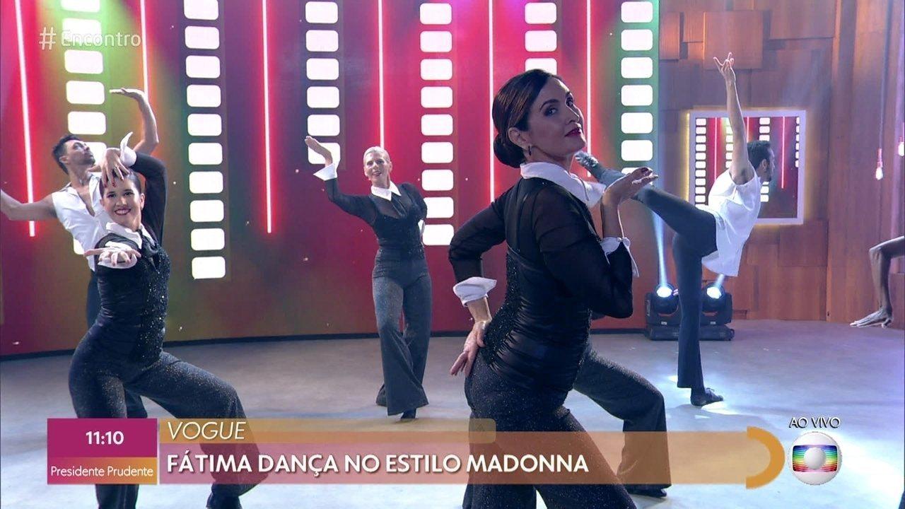 Fátima Bernardes dança no estilo Madona