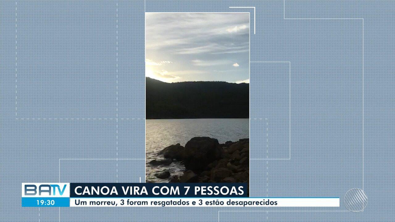 Canoa vira com sete pessoas em uma barragem na cidade de Pindobaçu; 3 estão desaparecidos