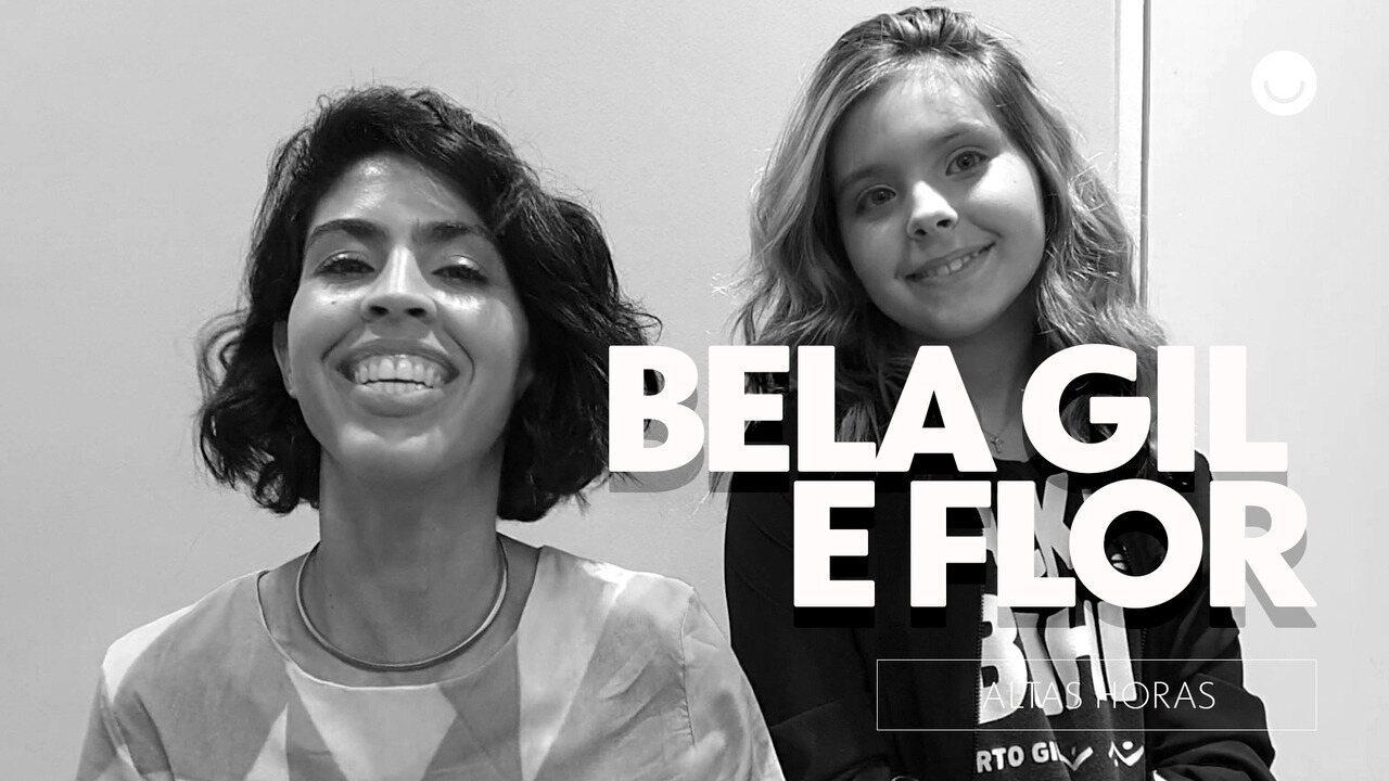 Bela Gil e a filha Flor nos bastidores do Altas Horas