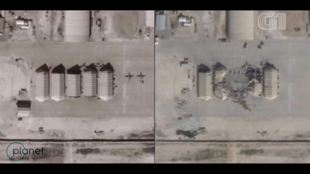 Imagens de satélite mostram base dos EUA no Iraque após ataque de misseis do Irã
