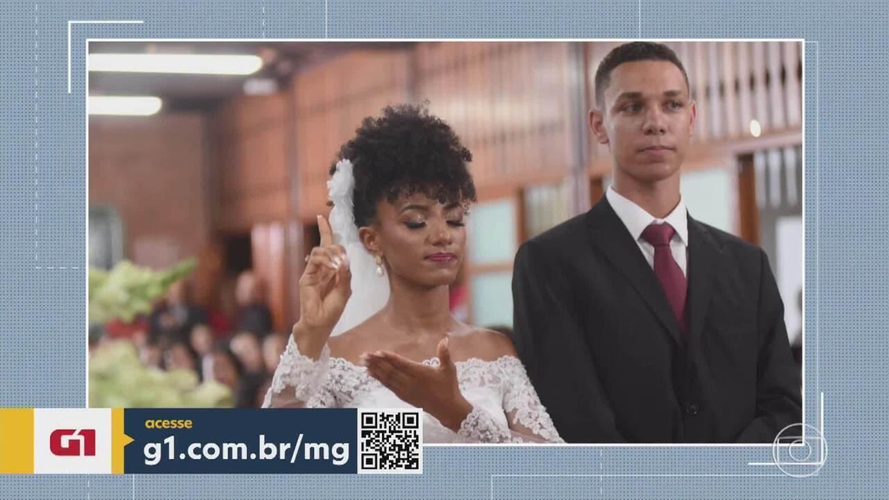 G1 no BDMG: Noiva surpreende convidados surdos ao 'cantar' em libras durante casamento