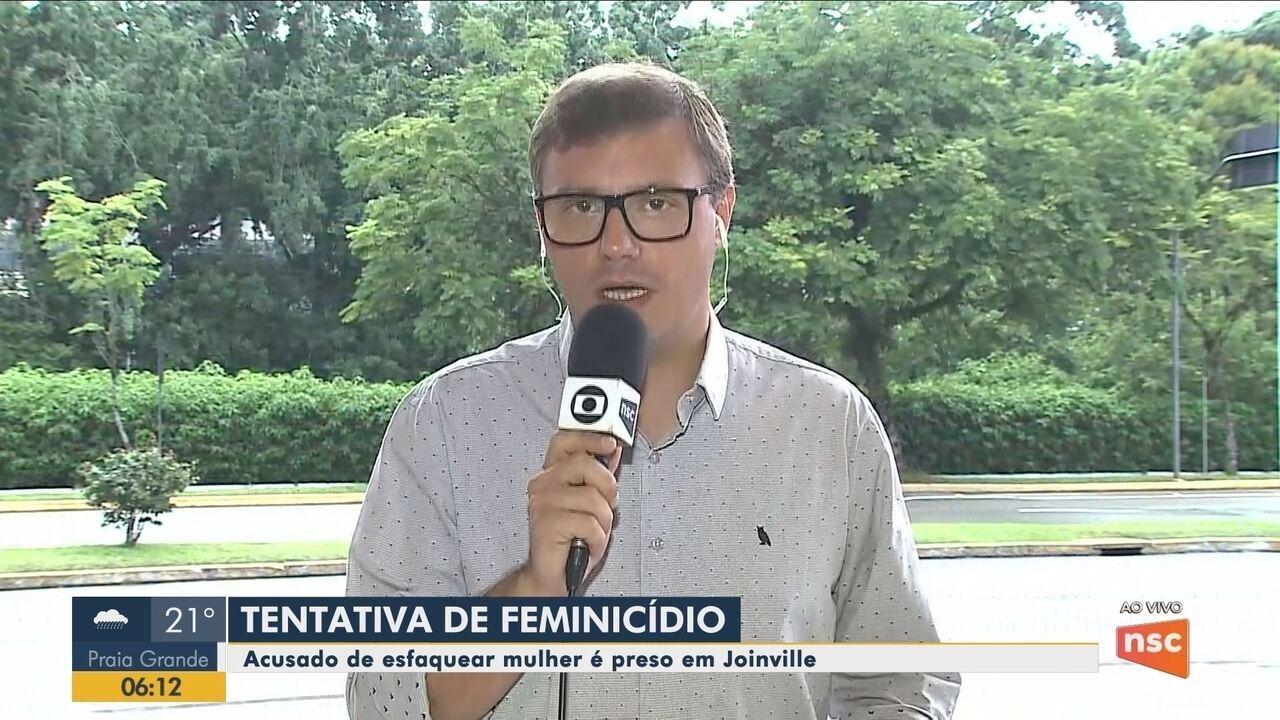 Homem acusado de esfaquear mulher é preso em Joinville