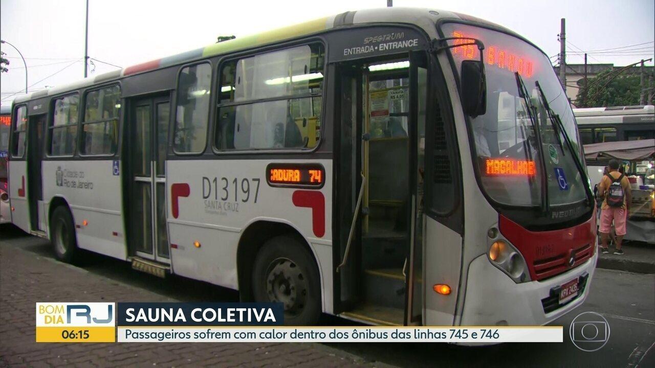 Passageiros sofrem com calor dentro dos ônibus das linhas 745 e 746