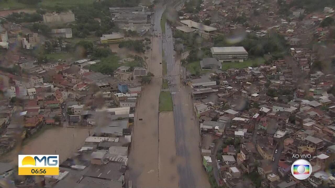 Globocop mostra alagamento na Avenida Cristiano Machado, na Região Norte de BH
